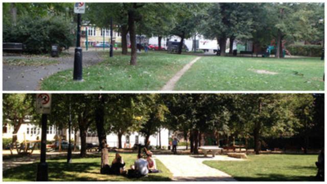 Parc Villeneuve dans Le Plateau-Mont-Royal (avant-après) (Groupe CNW/Ville de Montréal - Arrondissement du Plateau-Mont-Royal)