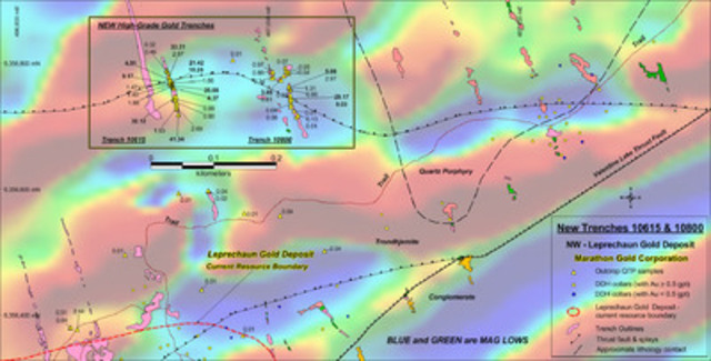 Figure 1: Location map of new high-grade QTP-Au bearing stacked veins in Trenches 10615  and 10800, North Leprechaun Gold deposit area. (CNW Group/Marathon Gold Corporation)