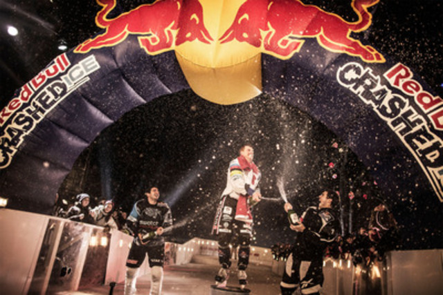 Third place Kilian Braun of Switzerland, first place Kyle Croxall of Mississauga and second place Cameron Naasz of the United States celebrate their well-deserved victory at Red Bull Crashed Ice in Niagara Falls. On December 1, more than 35,000 eager fans cheered these daredevil athletes to glory as they battled down a 460-metre urban ice track finishing at the edge of the falls. (CNW Group/Red Bull Crashed Ice)