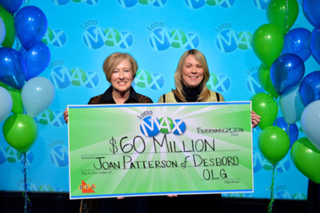 OLG's Vice President of Lottery Marketing and Sales Wendy Montgomery presents Desboro resident Joan Patterson with a cheque for $60,000,000 at the OLG Prize Centre Wednesday. Joan won the February 5, 2016 LOTTO MAX jackpot. (CNW Group/OLG Winners)