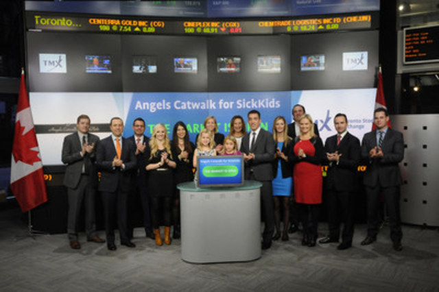 Representatives from Angels Catwalk for SickKids joined Tanya Rowntree, VP Regional Sales, TMX Equity Transfer Services to open the market. The 3rd annual Angels Catwalk for SickKids takes place on November 19 at Andrew Richard Designs in Toronto. To date the event has raised over $500,000 in support of transplant research, education and innovation at the SickKids Transplant Centre. For more information please visit http://www.angelscatwalk.ca/ (CNW Group/TMX Group Limited)