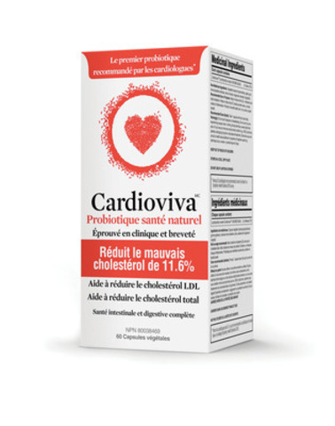 Cardioviva, un nouveau supplément probiotique pour la santé cardiaque, est maintenant en vente au Canada et aux États-Unis. Il est éprouvé en clinique pour réduire le cholestérol LDL («mauvais») par 11,6 % et aider à maintenir des taux sains de cholestérol chez les adultes. (Groupe CNW/The Winning Combination)