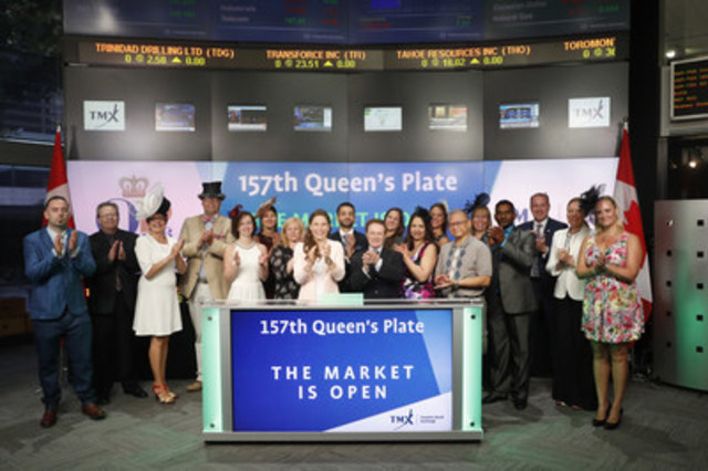 Hall of Fame jockey Sandy Hawley and award-winning jockey Emma-Jayne Wilson joined Tanya Rowntree, Vice President, Regional Sales, TSX Trust to open the market to celebrate the 157th Queen's Plate. Canada's oldest thoroughbred horse race and longest continuously run race in North America, the Queen's Plate has a tradition of food, fashion, racing and entertainment. This year's event will feature bands, including Hedley, Matthew Good, the Pick Brothers Band and the Strumbellas! For more information, please visit http://www.queensplate.com/Pages/home.aspx (CNW Group/TMX Group Limited)