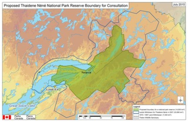 Proposed Thaidene Nëné National Park Reserve Boundary for Consultation (CNW Group/Parks Canada)