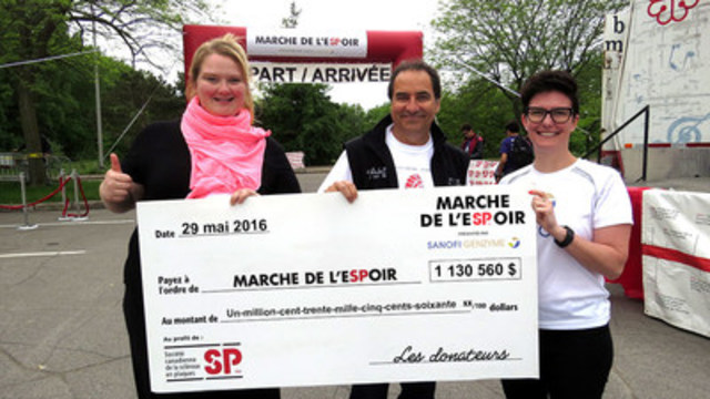 Debbie Lynch-White, spokesperson of the MS Walk, Louis Adam, General Manager of the Quebec Division of the MS Society and Catherine Cunningham, Head of Canada Communications ad-interim at Sanofi Canada, reveal the amount raised for the MS Walk in 2016. (CNW Group/Multiple Sclerosis Society of Canada)