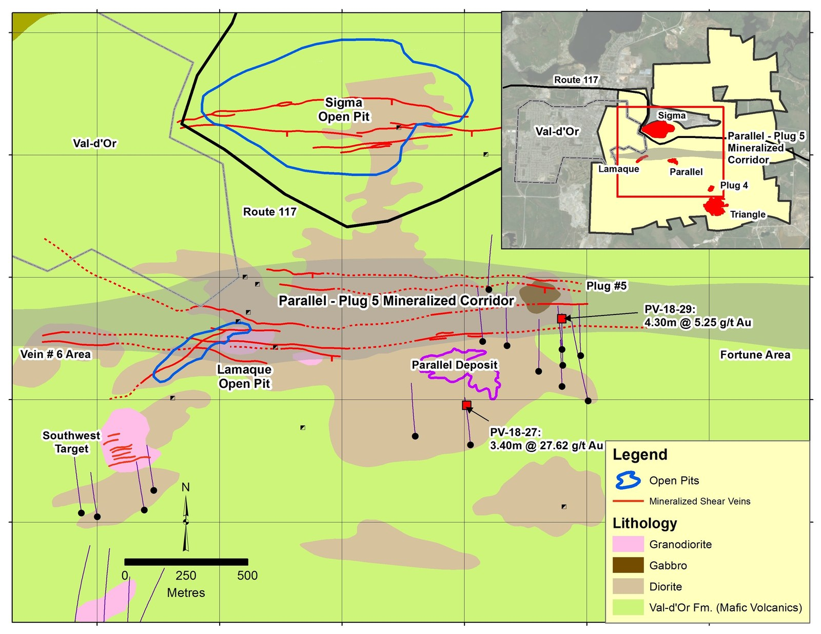 Figure 4: Geological map of Lamaque-Parallel-Plug 5 area showing surface traces of drillholes completed in current program.  For clarity, historical drillholes are excluded.  Mineralized corridor dips moderately to the south, such that both the Parallel Deposit and intercept shown in drillhole PV-18-27 lie within it.