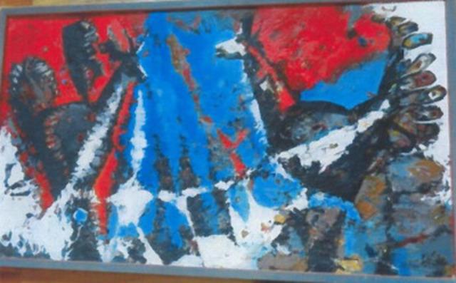 Acrylique sur toile de Maximilien Boucher, sans titre, 23 ½ X 39 pouces. (Groupe CNW/Sûreté du Québec)