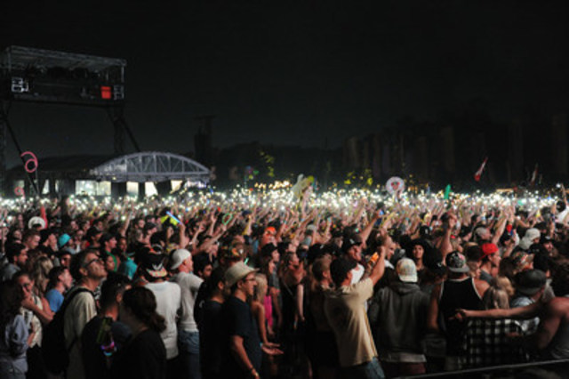 Crowd lights up the night at inaugural WayHome Music and Arts Festival, attended by 35,000 at Burl's Creek Event Grounds. Credit:Republic Live (CNW Group/WayHome Music and Arts)