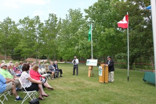 Ducks Unlimited Canada Director Grenville Jones announces plans for the Shubenacadie Wildlife Park Project in front of the Wetland Centre on June 21, 2016 (CNW Group/DUCKS UNLIMITED CANADA)