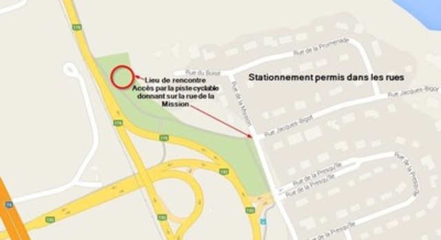 Plan du lieu de la rencontre sur la fermeture complète du pont de Québec (Groupe CNW/Ministère des Transports, de la Mobilité durable et de l'Électrification des transports)