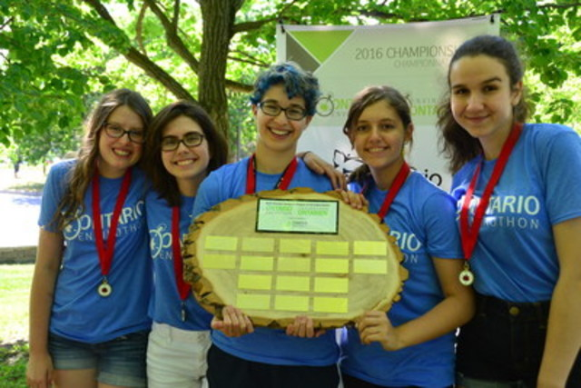 Team from University of Toronto School takes top prize Ontario Envirothon and will represent the province at the North America Envirothon at Trent University in Peterborough from July 24-29, 2016. (CNW Group/Forests Ontario)