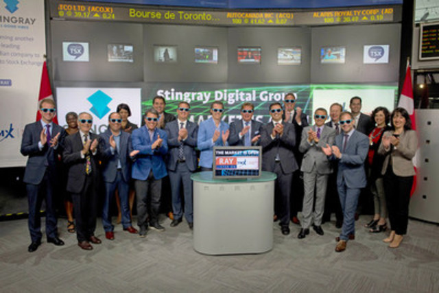 Eric Boyko, CEO, Stingray Digital Group Inc. (RAY.A, RAY.B) joined Kevan Cowan, President, TSX Markets and Group Head of Equities, TMX Group Limited to open the market to celebrate listing on Toronto Stock Exchange.  Stingray is a business-to-business multi-platform music and in-store media solutions provider operating on a global scale. Geared towards individuals and businesses, Stingray provides music products and services available on TV, web, mobile and in commercial settings. Stingray Digital Group Inc. commenced trading on June 3, 2015. For more information please visit www.stingray.com. (CNW Group/TMX Group Limited)