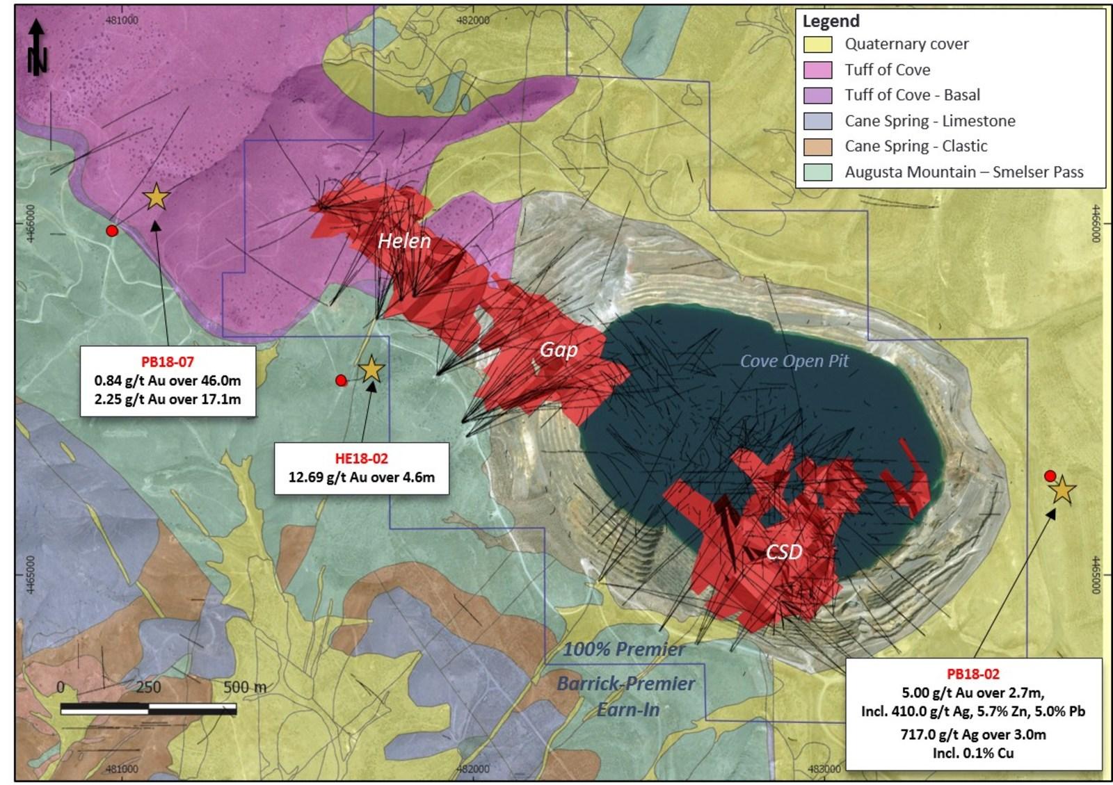 Figure 1 – McCoy-Cove highlight drill intercept locations