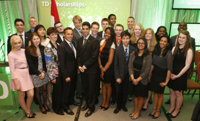 TD Bank Group awarded 20 Canadian students with a TD Scholarship for Community Leadership each valued at up to $70,000 at a ceremony today in Ottawa. Students were recognized by Dr. Jane Thompson, Executive Director, TD Scholarships for Community Leadership and Tim Hockey, Group Head Canadian Banking, Auto Finance and Wealth Management, TD Bank Group, and President and CEO, TD Canada Trust. (CNW Group/TD Bank Group)