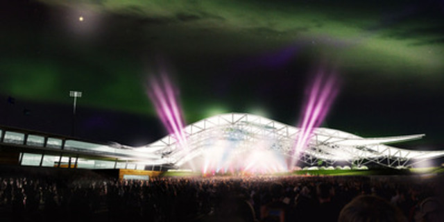 CNOOC proudly supports MacDonald Island Park's expansion (illustration of concert at new Field House stage) (CNW Group/Nexen Inc.)