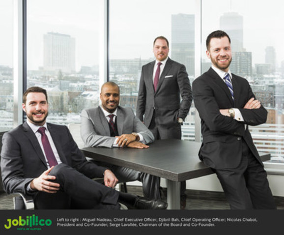 Left to right : Miguel Nadeau, Chief Executive Officer; Djibril Bah, Chief Operating Officer, Nicolas Chabot, President and Co-Founder; Serge Lavallée, Chairman of the Board and Co-Founder (CNW Group/Jobillico)