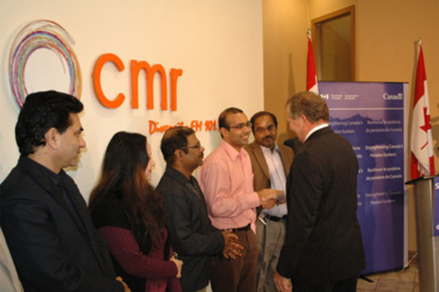 Minister of State (Finance) Ted Menzies announced the introduction of legislation for the Pooled Registered Pension Plan at the offices of Canadian Multicultural Radio in Etobicoke, Ontario, on Thursday, November 17. (CNW Group/Finance Canada)