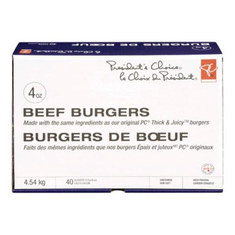 Burgers épais et juteux PC offerts en emballages de 40 x 113 g (4 oz) (Groupe CNW/Les Compagnies Loblaw limitée)