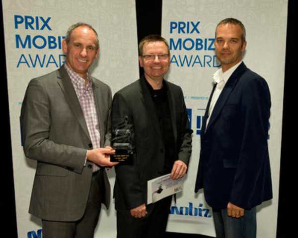 Mobiz BUSINESS Award - Society: Pierre Lalumière from Société en commandite Stationnement Montréal, Yvon Théorêt, Director of Technologies at Ingenio, and Ghislain Dallaire from TC Media. (CNW Group/LOTO-QUEBEC)