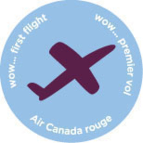 Air Canada rouge uses giveaway buttons onboard to mark special customers' special celebrations: anniversaries, birthdays, junior rouge crew, even first flights. (CNW Group/Air Canada rouge)