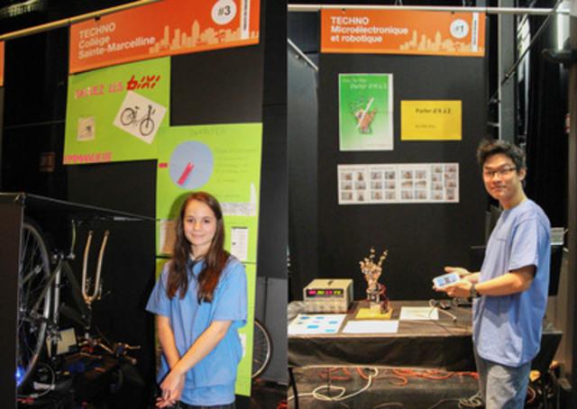 Les gagnants des premiers prix de l'édition CRÉETAVILLE 2014 : Emmanuelle Roy Dubreuil (volet secondaire) pour Sauvez les bixis! visant à produire un message publicitaire lumineux sur la roue d'une bicyclette, et Ka Hei Chu (volet collégial/universitaire) pour son projet de main robotisée pouvant reproduire les lettres en langage des signes. (Groupe CNW/Cégep Gérald-Godin)