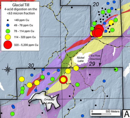 Figure 3a - Copper geochemical anomaly map of glacial tills within the Nickel Lake Macrodike area (CNW Group/Duluth Metals Limited)