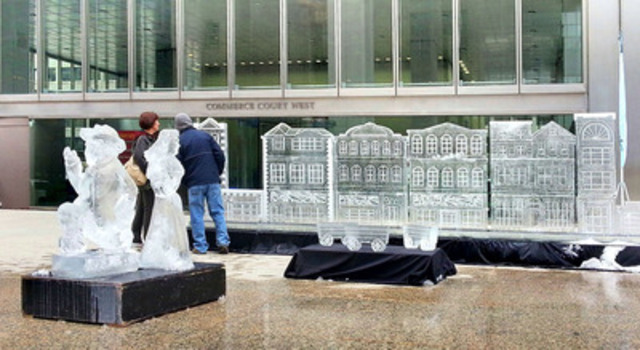 The Financial District's first ever Winter Festival kicked off this morning at Commerce Court with the carving of ice sculptures and a large sidewalk sale. Torontonians are invited to warm up and enjoy the festive heritage of an old-world celebration at the Festival which runs until Friday, with indoor skating performances scheduled for Wednesday. (CNW Group/Commerce Court)