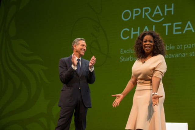 Howard Schultz, chairman, president and ceo of Starbucks, announces a first-of-its-kind collaboration with Oprah Winfrey to co-create Teavana® Oprah Chai Tea, which will be available in Starbucks and Teavana stores just in time for Mother's Day. (CNW Group/Starbucks Coffee Canada)