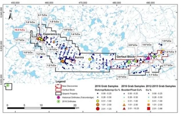 Figure 1b : Carte de la propriété Qiqavik montrant les principaux résultats d'exploration pour le cuivre (Groupe CNW/RNC Minerals)