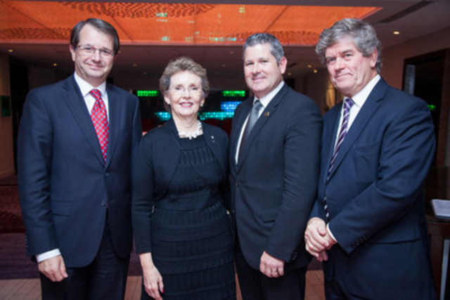 The IRCM Foundation's 2015 annual dinner - Left to right: Tarik Möröy (IRCM President and Scientific Director), Louise Lambert-Lagacé (Chair of the IRCM's Board of Directors), Martin Thibodeau (Honorary Chairman; President of Quebec Headquarters at RBC Royal Bank), André J.P. Couillard (President of the IRCM Foundation) (CNW Group/Institut de recherches cliniques de Montréal (IRCM))
