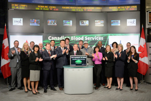 Michael Betel, Director, Donor Relations, Canadian Blood Services and MPP Han Dong, Trinity-Spadina, joined Suzanne Peters, Director, Business Communications & Strategic Programs, TMX Group to open the market to celebrate National Blood Donor Week, June 8 -14, 2015. Also in attendance were representatives from RBC, KPMG, Minden Gross LLP, Cassels Brock & Blackwell LLP and Bereskin & Parr LLP, as well as blood recipients and OneMatch advocates. By donating blood, donors are sharing a part of themselves that can make a lifesaving difference and in turn gives the recipient more time to spend with their families. National Blood Donor Week encourages Canadians to make blood donation a family tradition. For more information please visit www.blood.ca (CNW Group/TMX Group Limited)