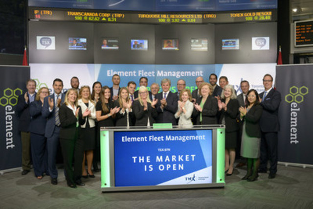Bradley Nullmeyer, CEO, Element Fleet Management Corp., joined Rob Peterman, Director, Global Business Development, Toronto Stock Exchange and TSX Venture Exchange, to open the market to celebrate 5 years listed on Toronto Stock Exchange. Element Financial Corporation (EFN) is a fleet management and equipment finance company. On October 3, 2016, the company is expected to separate into two independent public companies - Element Fleet Management Corp and ECN Capital Corp. Element Fleet will operate the Company's fleet management business, providing fleet services, customized fleet financing options, consulting and technology innovation. Element Financial Corporation commenced trading on Toronto Stock Exchange on December 16, 2011. (CNW Group/TMX Group Limited)