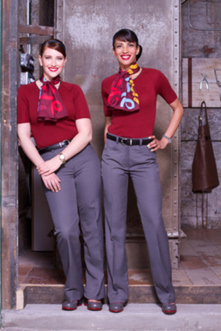 Air Canada rouge flight attendants unveil the new airline's first-ever in-flight look, which includes signature pieces from Canadian designers such as John Fluevog, who created their custom shoes, and Mari C Design who designed the scarves and ties. Maybelline New York's lead makeup artist Grace Lee developed the fresh and ap­proachable beauty look while Ontario's Cobmex Apparel is behind the women's sweat­er sets and the men's cardigans. (CNW Group/Air Canada rouge)