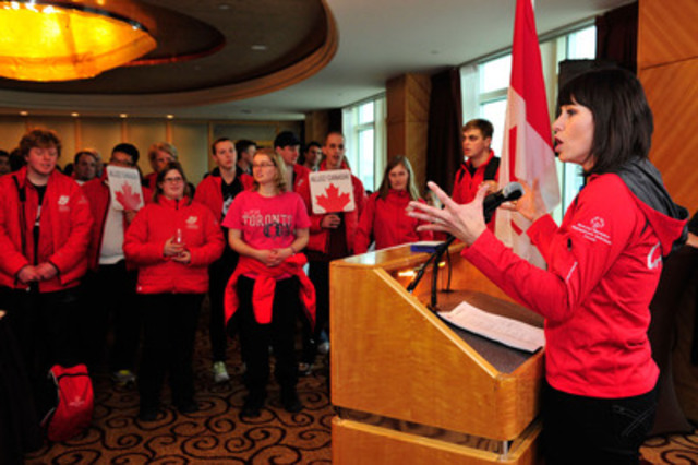 Special Olympics Team Canada's Honourary Coach Catriona Le May Doan revs up her team at their big send off before heading to compete in the 2013 Special Olympics World Winter Games in Pyeongchang, Republic of Korea. (CNW Group/Special Olympics Canada)