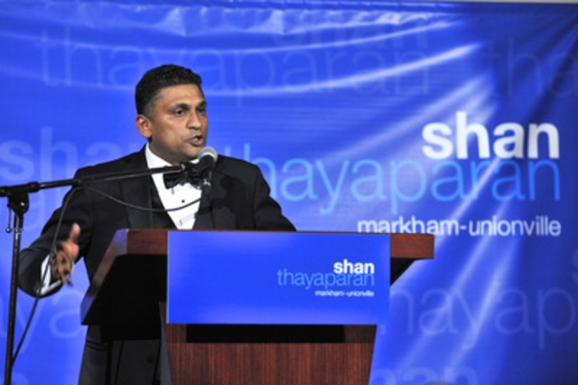 Markham-Unionville PC Candidate Shan Thayaparan speaks at a Black Tie gala fundraiser last night. The event featured traditional Chinese and Tamil entertainment and food, as well as appearances by MP Paul Calandra and MPP Julia Munro. (CNWGroup/Shan Thayaparan Campaign) (CNW Group/Shan Thayaparan Campaign)