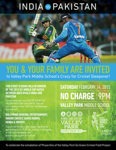 The Crazy for Cricket Sleepover Event for the Legendary ICC World Cup India vs Pakistan Match! (CNW Group/Valley Park Go Green Cricket Field Project)