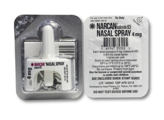 Narcan© Nasal Spray - Product packaging for the existing, interim U.S. product that is currently available in Canada (CNW Group/Adapt Pharma)