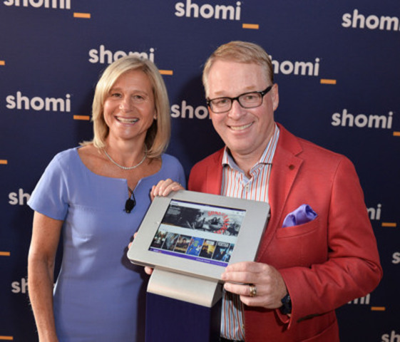 Barbara Williams, Senior Vice President, Content, Shaw Media, and Keith Pelley, President, Rogers Media, unveil new subscription video-on-demand service, shomi, at a media event in Toronto today. (CNW Group/Rogers Communications Inc.)