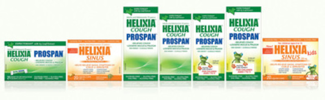 Helixia: a complete line of clinically-proven cough and cold remedies suitable for children and those who cannot tolerate common over-the-counter products. (CNW Group/Pendopharm)