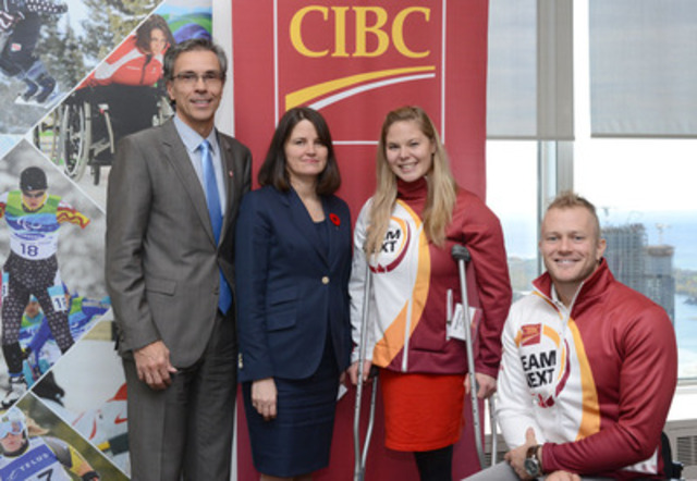 CIBC teams with Canadian Paralympic Committee in new multi-year sponsorship. Left to Right, Gaétan Tardif, President of the Canadian Paralympic Committee, Laura Dottori-Attanasio, CIBC's Senior Executive Vice-President and Chief Risk Officer, Stephanie Dixon, Paralympian and CIBC Team Next mentor, and Josh Cassidy, Paralympian and CIBC Team Next mentor. (CNW Group/Canadian Imperial Bank of Commerce)