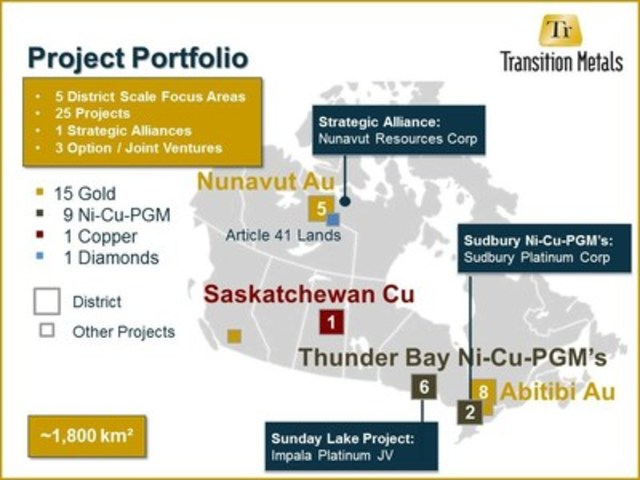 Figure 1. Project Portfolio Map (CNW Group/Transition Metals Corp.)