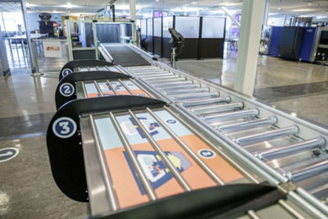 Stations améliorées de retrait des articles pouvant accueillir quatre passagers en même temps. (Groupe CNW/Administration canadienne de la sûreté du transport aérien (ACSTA))