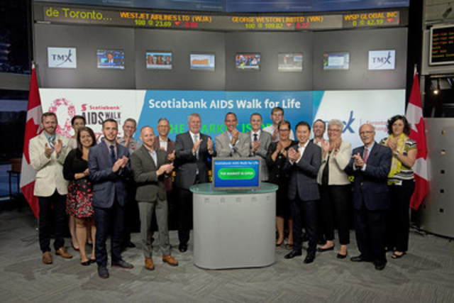 John Maxwell, Executive Director, AIDS Committee of Toronto joined Suzanne Peters, Director, Business Communications & Strategic Programs, TMX Group to open the market to raise awareness for the Scotiabank AIDS Walk for Life. The annual walk helps participants show their solidarity for the thousands of Canadians living with, affected by, and at risk of contracting HIV/AIDS. Since its inception in 1996, the Scotiabank AIDS Walk for Life has raised over $40 million and has attracted well over half a million walkers. This year's walk will take place on September 13th at Yonge-Dundas Square. For more information please visit www.aidswalktoronto.ca. (CNW Group/TMX Group Limited)