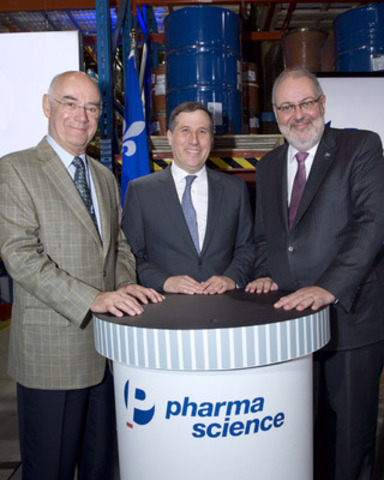 Minister Jacques Daoust, Dr David Goodman, Chief Executive Officer, Pharmascience, Minister Pierre Arcand. (CNW Group/Pharmascience Inc.)