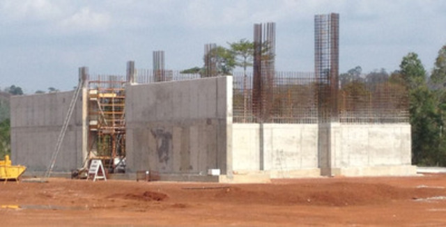 Crusher vault, rebar installation in advance of concrete pour, March 2013 (CNW Group/Endeavour Mining Corporation)