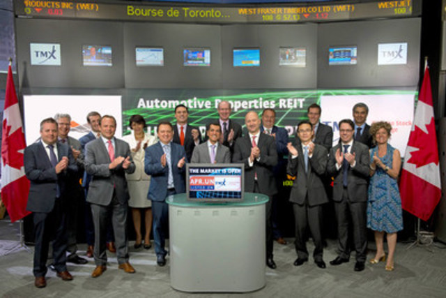 Milton Lamb, President & CEO, Automotive Properties Real Estate Investment Trust (APR.UN) will join Ungad Chadda, Senior Vice President, TMX Group to open the market. Automotive Properties Real Estate Investment Trust (REIT) is focused on owning and acquiring primarily automotive dealership properties in Canada. Automotive Properties REIT (APR.UN) commenced trading on July 22, 2015. For more information please visit automotivepropertiesreit.ca. (CNW Group/TMX Group Limited)