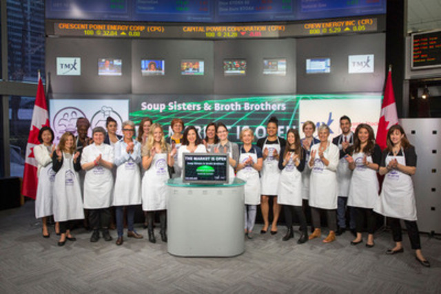 Sharon Hapton, Founder, Soup Sisters & Broth Brothers joined Su Chun, Senior Legal Counsel, Regulatory Compliance, TMX Group to open the market. Soup Sisters and Broth Brothers is a non-profit charitable social enterprise dedicated to providing comfort to women, children and youth through the making, sharing and donating of soup. Each month across the country Soup Sisters & Broth Brothers produce over 10, 000 servings of fresh soups for local shelters. On May 3, TMX Group employees will participate in a Soup Sisters program. (CNW Group/TMX Group Limited)