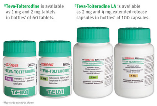 Teva-Tolterodine is available as 1 mg and 2 mg tablets in bottles† of 60 tablets. Teva-Tolterodine LA is available as 2 mg and 4 mg extended release capsules in bottles† of 100 capsules. †May not be exactly as shown (CNW Group/Teva Canada Limited)