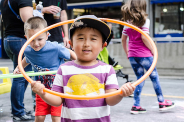 Child playing with hulla hoop at Downtown Yonge BIA Hub at Open Streets TO in 2014. Photo Credit: Downtown Yonge BIA (CNW Group/Open Streets TO)