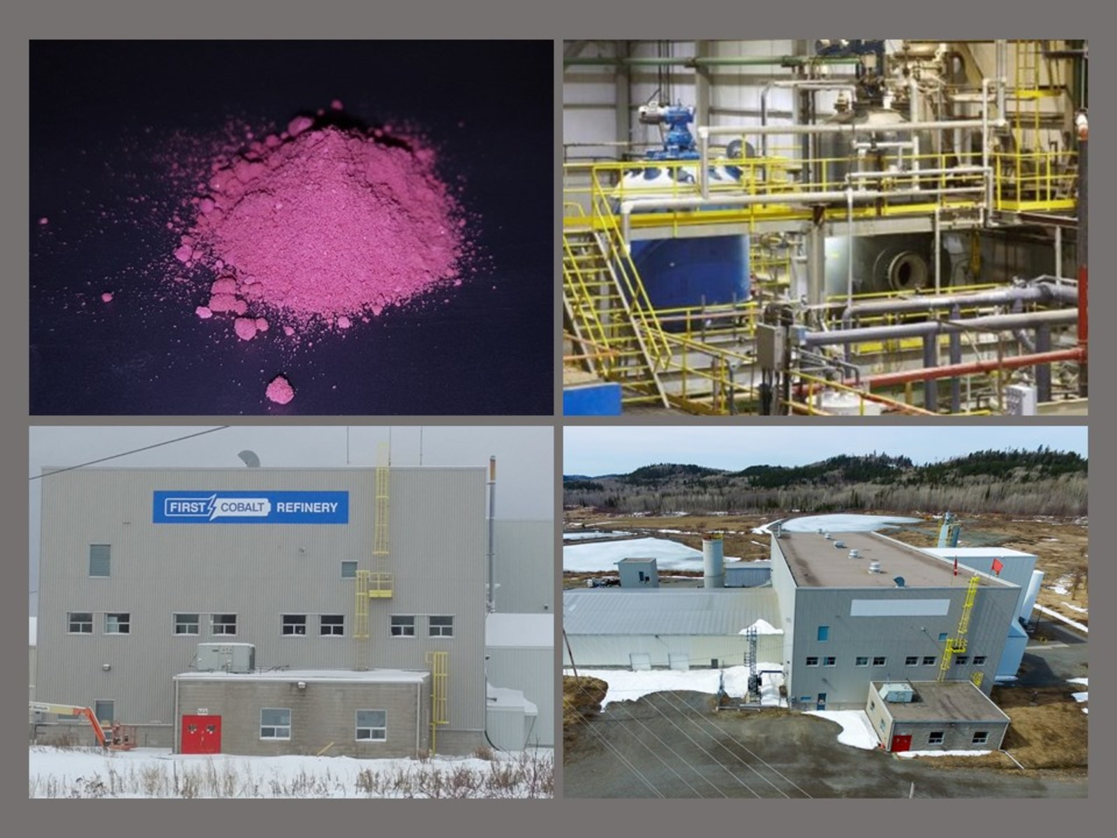 Image 1. First Cobalt Refinery exterior, interior and cobalt sulfate material